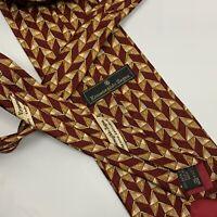 Ermenegildo Zegna Red Gold Geometric Neck Tie 100% Silk