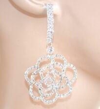 BOUCLES d'oreilles argent mariée élégant strass cristaux pendantes cérémonie E65
