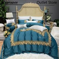 Luxury Egyptian Cotton Lace Embroidery Cover Bed Fitted Sheet Bedding Set 4/7pcs