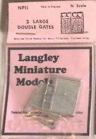2 large Double Gates Part NP11 UNPAINTED N Gauge Scale Langley Models Kit 1/148
