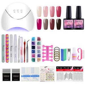 Nail Gel Polish Nail Art Kit UV Gel Top Base Coat Set Nail Manicure lamp 8 Color