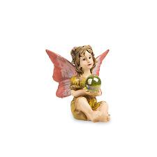 Sitting Fairy with Gazing Ball in Gold Dress - Miniature Fairy Garden Dollhouse