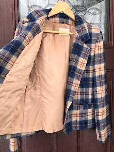 Vintage Pendleton Tan Blue Cailean Tartan Plaid Wool Womens Blazer Jacket Sze 10