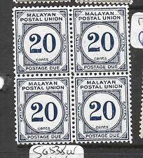 MALAYA MPU (P1001B) POSTAGE DUE 20C  SG D 21 B L OF 4   MNH