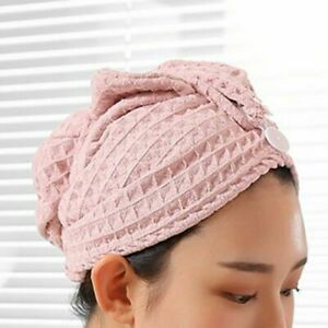 Waffle Texture Quick Dry Hair Turban Towel Cap Bath Hat Loop Wrap Twist