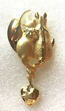 AJC 2 cats sitting on the moon Gold Tone BROOCH ~  CATS MOON Dangling Heart
