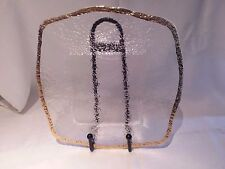 """IVV Crystal """"Glacier"""" 10K Gold Glass Square Platter Hand Made In Italy 13 1/2"""""""