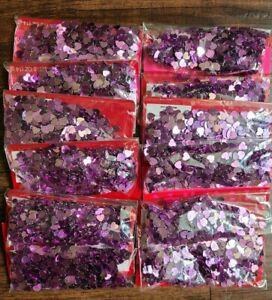 Table Confetti Purple Metallic Hearts Party Supply 6oz  Anniversary Wedding Love