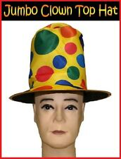 Novelty CLOWN Polka Dots TOP HAT Circus Mardi Gras Fancy Dress Costume Party NEW