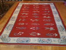 Multi-Colored Floral Pattern Reversible Needlepoint Wool Throw Area Rug 6'x9'