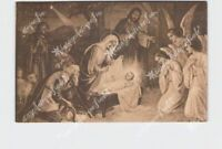 PPC POSTCARD CHRISTMAS NATIVITY SCENE MARY WRAPS JESUS IN MANGER ANGELS SHEPHERD