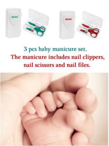 ✅MANICURE SET 3 pcs Baby Child Scissors Clipper Nail File Elegant Case ✅UK