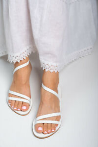 Ancient Greek style white real leather sandals handmade slingback open toe