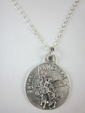 "3/4"" St Michael / Police Officer Medal Pendant Necklace 20"" Chain"