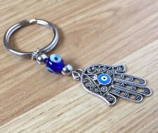 Hamsa Hand of Fatima Lucky Evil Blue Eye Nazar Keyring Free Post UK Silver Metal