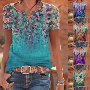 Womens Floral V Neck T Shirts Blouse Ladies Short Sleeve Loose Summer Tops UK