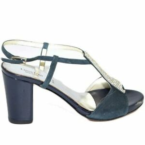 Sandalo donna gioiello blu linea comoda con strass  tacco doppio 5 cm cinturino