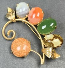 "Vintage Brooch Pin 2"" Light Gold Tone Flower Colorful Cab Lucite"