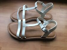 Girls 2 Sandals Shoes Next Smart Party White Pearl Casual Flat Gladiator Strap