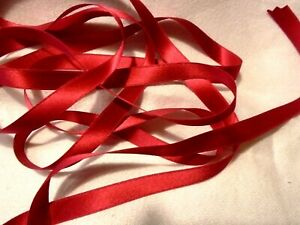 """3/8"""" WIDE DOUBLE FACE SILK SATIN RIBBON - DEEP RED #119 - by the yard"""
