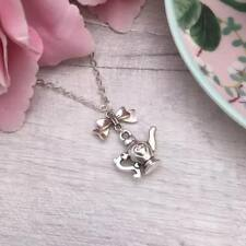Silver Alice in Wonderland Teapot Necklace, Tea Lovers Pendant, Dainty Necklace