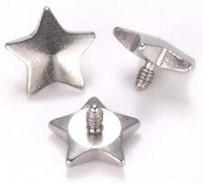 14g - 12g Internally Threaded 5mm Steel Star Top - Price Per 1