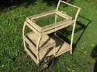 Antique Victorian 2 Tier WICKER TEA CART Bar Removable Tray Wooden Wheels Garden