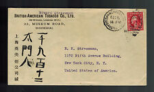 1913 US Post Office Shanghai China to USA British american Tobacco Company