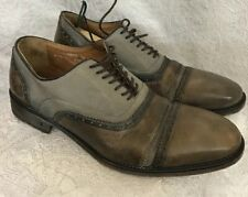 John Varvatos Shoe Gray Canvas And Leather With Leather Lace Up Size 8 1/2
