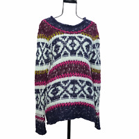 Free People Nordic Thick Knit Sweater Size S Oversized Colorful Fair Isle Womens