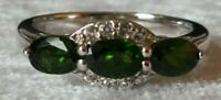 Sterling silver & peridot vintage Art Deco antique three stone ring - size O