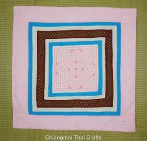 HMONG HANDMADE EMBROIDERED REVERSE QUILT APPLIQUE' TABLE CLOTH PINK(#039)