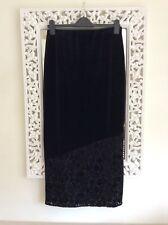 Vintage Principles Black Velvet Floral Devore Trim Midi Skirt, Size UK 10