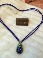 "Sorrelli Electric Blue Necklace 26"" pendant antique silver  tone"