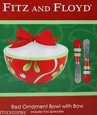 Christmas Fitz and Floyd Red Ornament Bowl with Bow & 2 Spreaders NIB