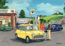MiniVan & BMC Mini BP Wind Mill Garage Stoke on Trent ? Motoring greeting card