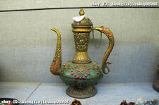 "14""Tibet Folk Classical Copper Hand-inlay ruby beryl turquoise coral stoup Pot"