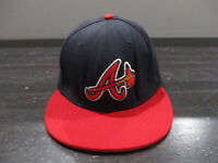 New Era Atlanta Braves Hat Cap Fitted 7 3/8 Blue Red MLB Baseball Mens