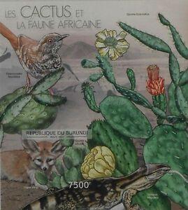 Cactus African Wildlife Fennec fox Warbler Burundi s/s Sc.1237 #BUR12614b IMPERF