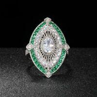 Vintage Luxus 925 Sterling Silber Ring Kristall Smaragd Edelstein Damen Geschenk