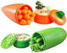 Hutzler 2-Pack Celery and Carrot with Dip Cup To-Go -Travel Storage Containers