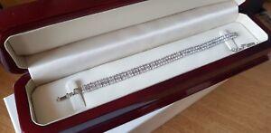 Tennis Bracelet Finition or Balnc avec Diamant Synthétique Double Rangée