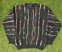 Vintage 90s ROUNDTREE & YORKE Crosby Coogi Style Mens Large Jumper Sweater | 3D