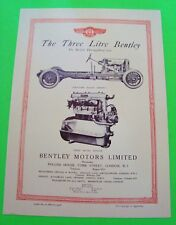scarce 1928 BENTLEY 3-LITRE FOLDER BROCHURE 4-Seat Sports Car 1971 RROC RE-PRINT
