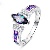 925 Silver Jewelry Women wedding Rings Marquise Cut Mystic Topaz Ring Size 6-10