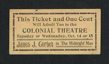 VERY RARE 1919 James J. Corbett Midnight Man vaudeville ticket boxing boxer Jim