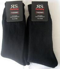 2 Paar XXL Thermosocken Wintersocken ohne Gummi Vollfrottee schwarz 47 - 50