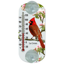 "204-1081 La Crosse 8"" Indoor/Outdoor Clear Window Thermometer - Cardinal"