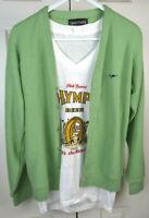 Vintage Avocado Turtle Cardigan Sweater Sz S 60s Kurt Cobain Grunge Top Tier