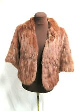Vintage Brown Real Fur Women's Scarf Wrap Pull Over Jacket